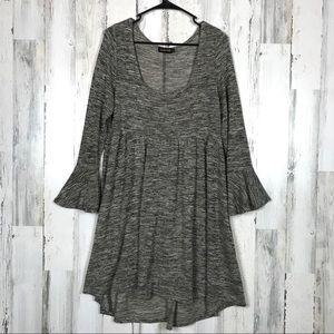 Reborn | Grey Mini Bell Sleeve Dress Size Large